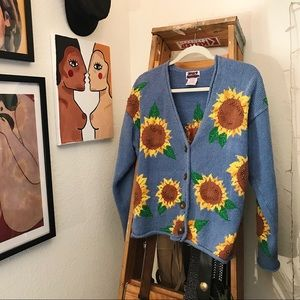 Vintage Ramie Sunflower Knit Cardigan